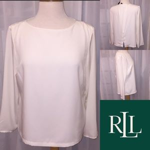 LAUREN RL Romantic White Blouse NWT🐝 Size 12P